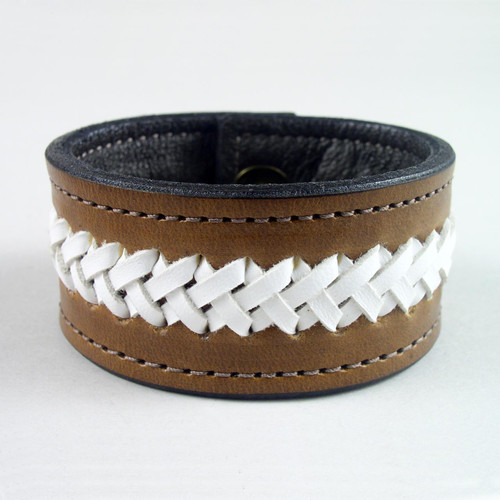 "Leather Braided Wristband 1 1/4"" wide"