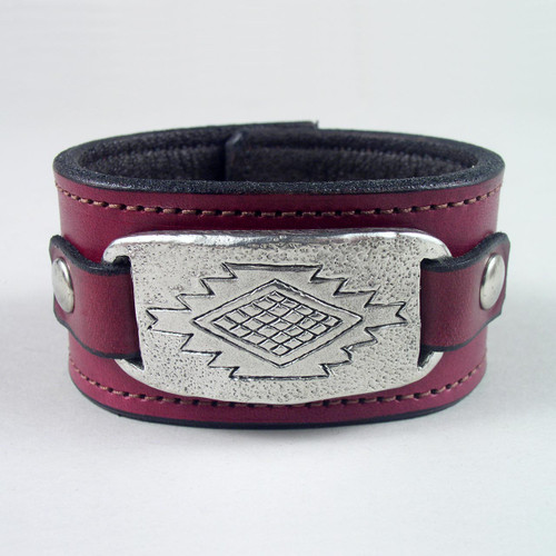 "Navajo Pewter Leather Wristband 1 1/2"" wide"