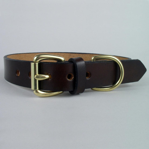 Solid leather dog collar with solid brass buckle customized to any neck size.