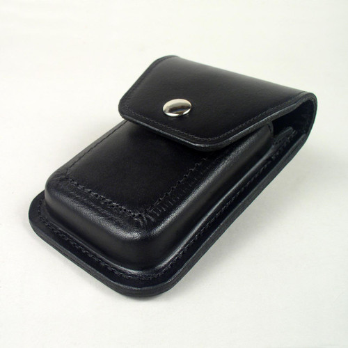 Vertical iPhone case molded from firm leather for protection and durability.