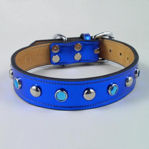 "Jewel & Stud Metallic Leather Dog Collar 1 1/2"" wide"