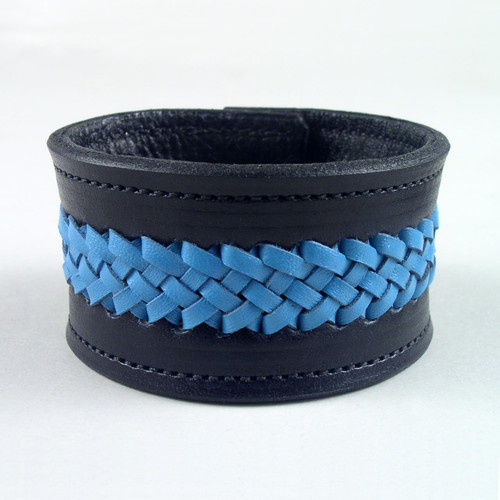 "Leather Braided Wristband 1 1/2"" wide"