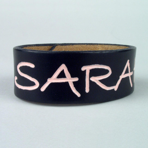 """Etched Leather ID Bracelet 1"""" wide"""