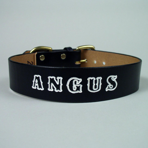 Custom leather dog collar with deep imprinted white lettering.