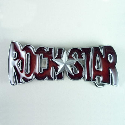 Rock Star Belt Buckle (B) Fits 1 1/2 Inch Wide Belt.