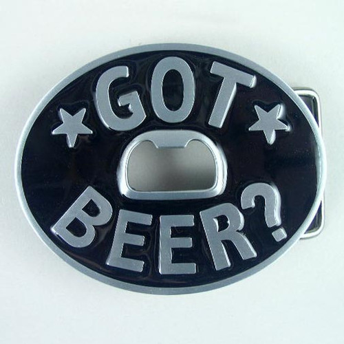 Got Beer Belt Buckle Fits 1 1/2 Inch Wide Belt.