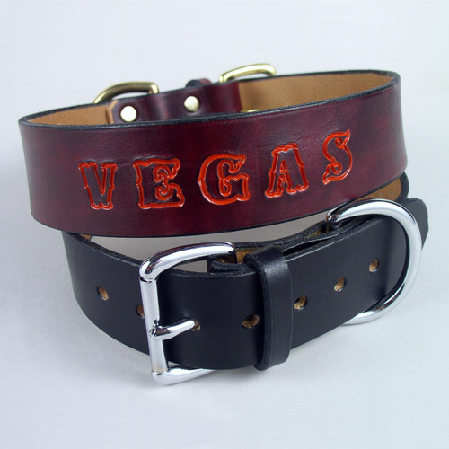 These personalized leather dog collars come with your choice imprinted name colors.