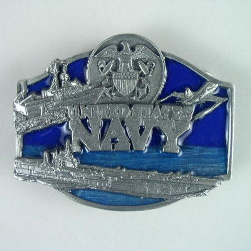 U.S. Navy Belt Buckle Fits 1 1/2 To 1 3/4 Inch Wide Belts.