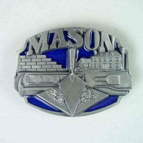 Mason Trade Belt Buckle Fits 1 1/2 To 1 3/4 Inch Wide Belts.