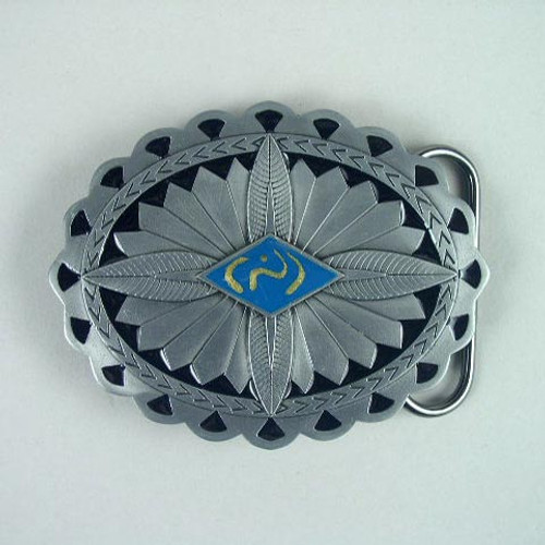 Oval Feather Stone Belt Buckle Fits 1 1/2 To 1 3/4 Inch Wide Belts.