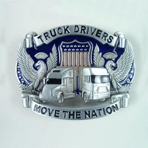 American Trucker Belt Buckle (B) Fits 1 1/2 Inch Wide Belt.