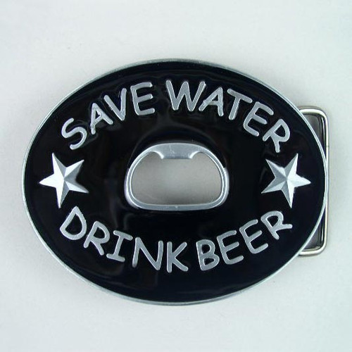 Save Water Drink Beer Bottle Opener Belt Buckle Fits 1 1/2 Inch Wide Belt.
