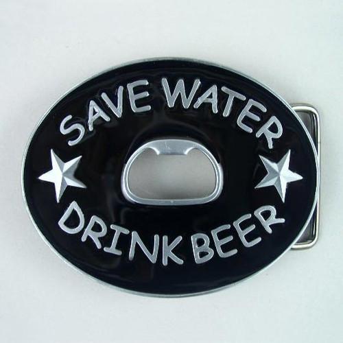 Save Water Drink Beer Bottle Opener Belt Buckle Fits 1 1/2 Inch Wide Belt.