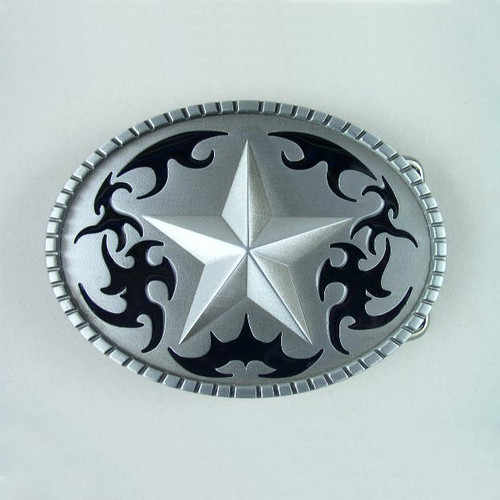 Star Belt Buckle Fits 1 1/2 Inch Wide Belt.