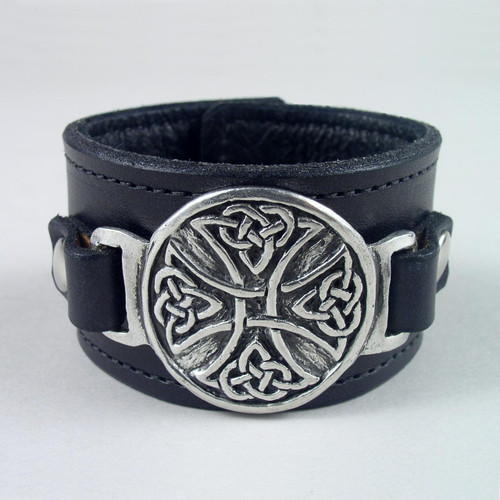 """Celtic Cross Pewter Leather Wristband 1 1/2"""" wide"""
