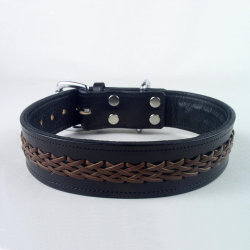 Braided leather dog collar lined with soft garment cowhide.