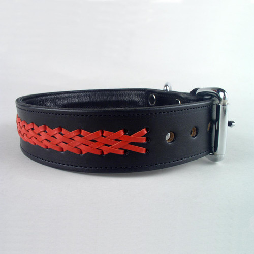 Red leather lace braided on black full grain leather dog collar lined with soft garment cowhide.