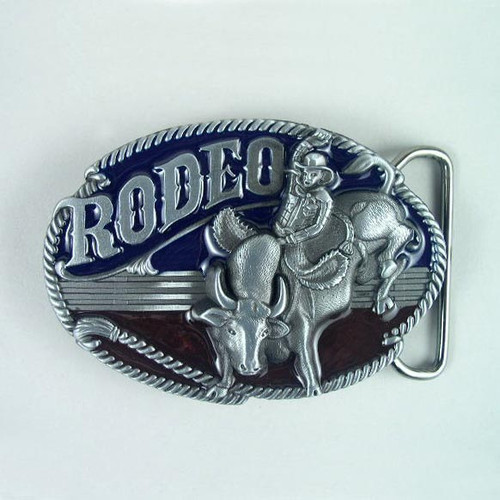 Rodeo (C) Belt Buckle Fits 1 1/2 To 1 3/4 Inch Wide Belts.