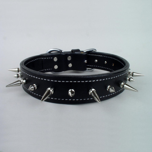 "Spiked Tough Leather Dog Collar 1 3/4"" wide"