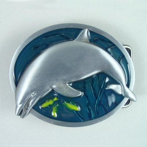 Dolphin Belt Buckle Fits 1 1/2 Inch Wide Belt.