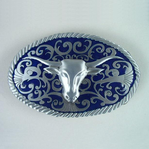 Longhorn (Blue) Belt Buckle Fits 1 1/2 Inch Wide Belt.