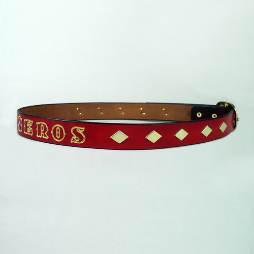 Gold diamond studs adorn this imprinted name leather belt.