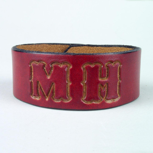 "Classic Leather ID Bracelet 1 1/4"" wide"