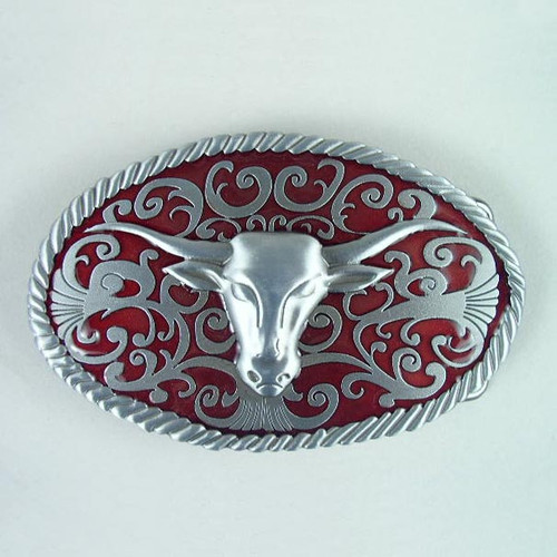 Longhorn (Red) Belt Buckle Fits 1 1/2 Inch Wide Belt.