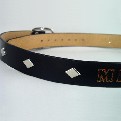 "Studded Custom Leather Name Belt 1 1/2"" Wide"
