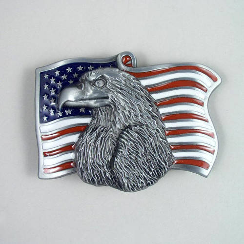 American Flag Belt Buckle (B) Fits 1 1/2 Inch Wide Belt.