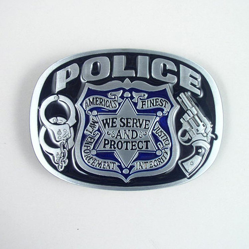 Police Belt Buckle (B) Fits 1 1/2 Inch Wide Belt.
