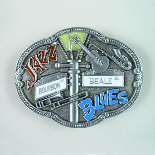 Jazz Blues Belt Buckle Fits 1 1/2 Inch Wide Belt.