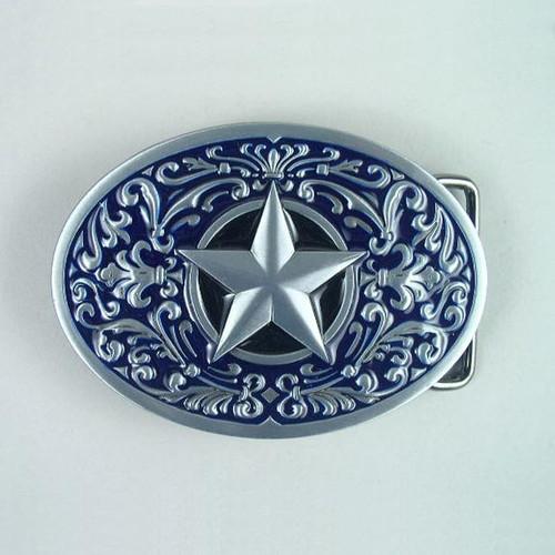 Lone Star (Blue) Belt Buckle Fits 1 1/2 Inch Wide Belt.