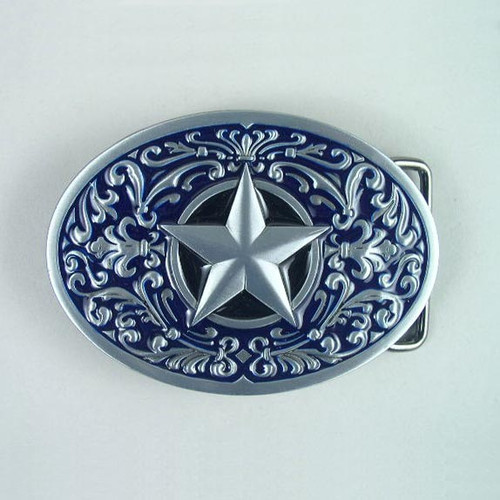 Lone Star (Blue) Belt Buckle Fits 1 1/2 Inch Wide Belt.