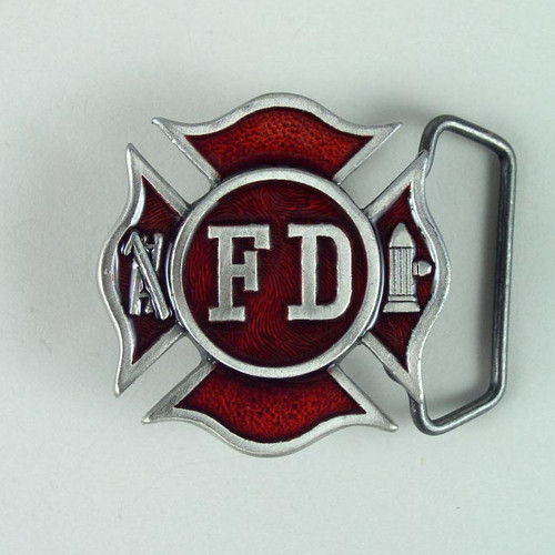 Fire Dept Belt Buckle Fits 1 1/2 To 1 3/4 Inch Wide Belts.