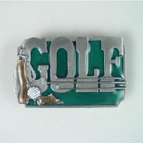Golf Belt Buckle Fits 1 1/2 To 1 3/4 Inch Wide Belts.
