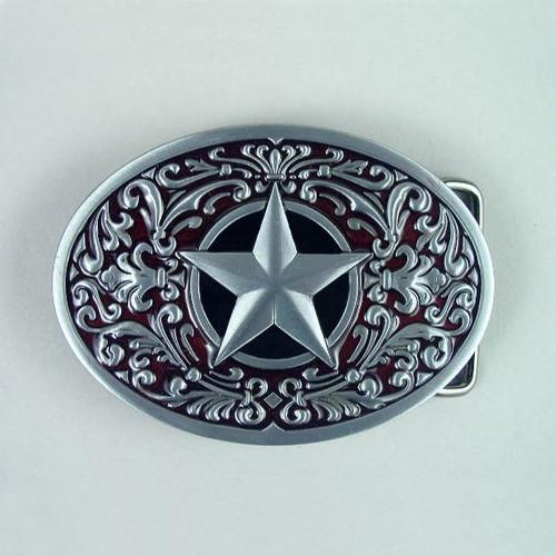 Lone Star (Red) Belt Buckle Fits 1 1/2 Inch Wide Belt.