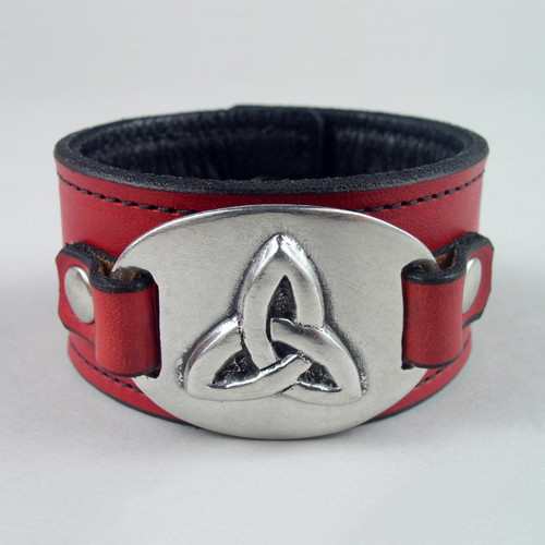 "Trinity Pewter Leather Wristband 1 1/2"" wide"