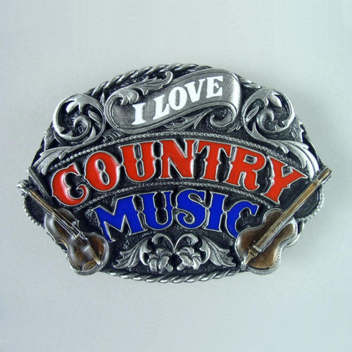 Country Music Belt Buckle (D) Fits 1 1/2 Inch Wide Belt.