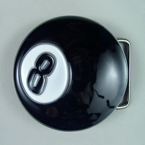 Eight Ball Belt Buckle Fits 1 1/2 Inch Wide Belt.
