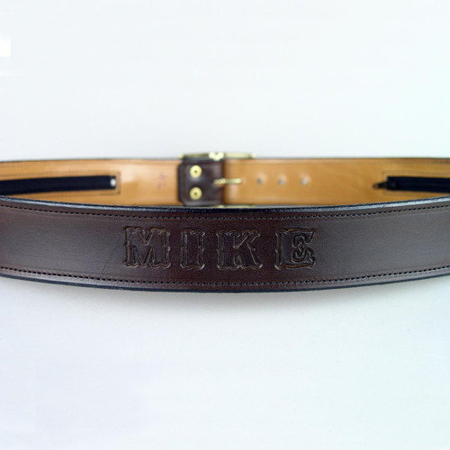 """Name Only Leather Money Belt 1 1/2"""" Wide"""
