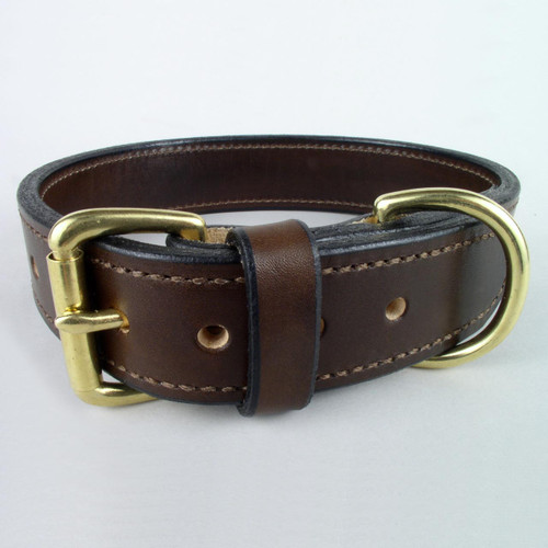 Brown tough leather dog collar with solid brass roller buckle and D ring.