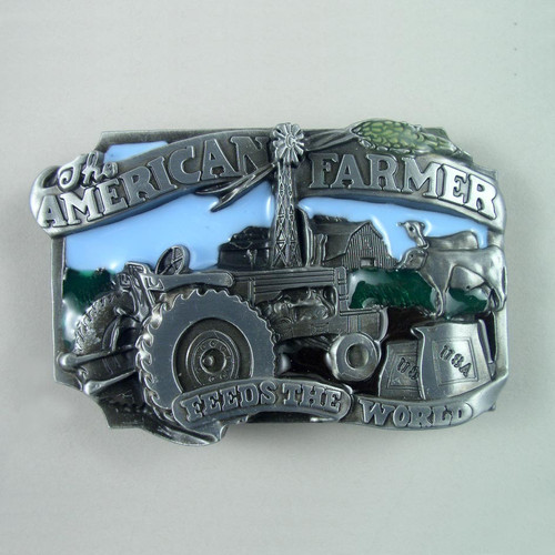 American Farmer Belt Buckle Fits 1 1/2 Inch Wide Belt.