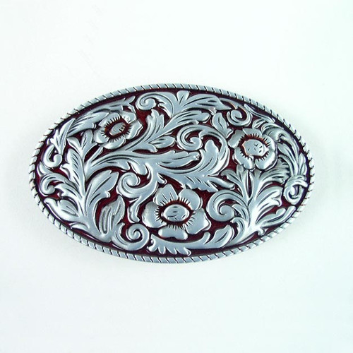 Floral Belt Buckle Fits 1 1/2 Inch Wide Belt.