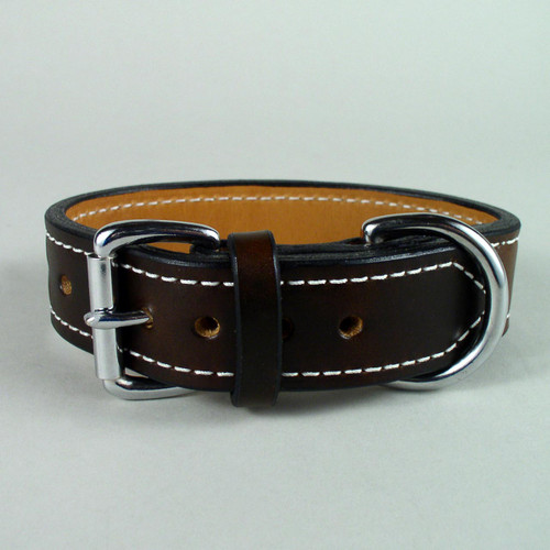 Strong leather dog collar sewn with white harness thread.