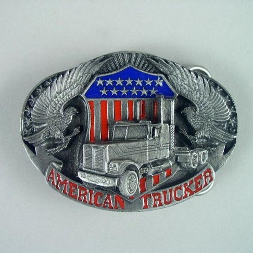 American Trucker Belt Buckle (A) Fits 1 1/2 To 1 3/4 Inch Wide Belts.
