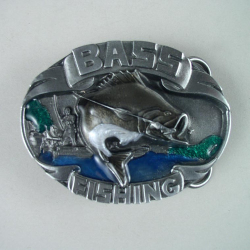 Bass Fishing Belt Buckle Fits 1 1/2 To 1 3/4 Inch Wide Belts.