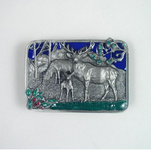 Deer Belt Buckle (B) Fits 1 1/2 To 1 3/4 Inch Wide Belts.