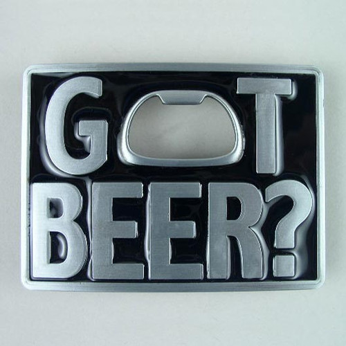Got Beer (B) Bottle Opener Belt Buckle Fits 1 1/2 Inch Wide Belt.
