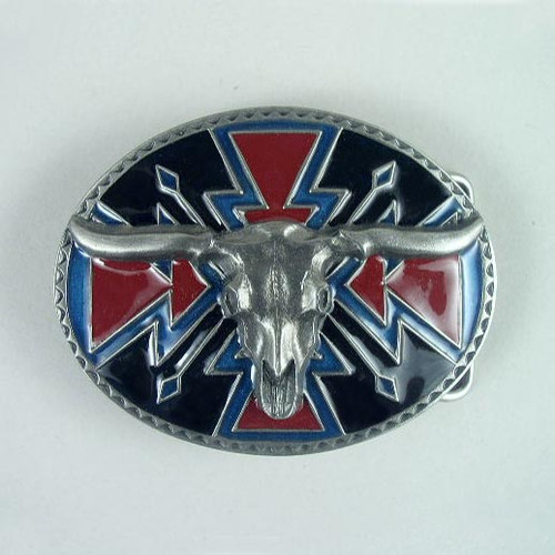 Native Steer Head Skull Belt Buckle Fits 1 1/2 Inch Wide Belt.